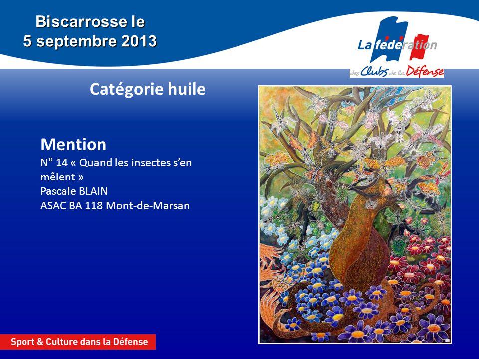 Biscarrosse le 5 septembre 2013 Catégorie huile Mention N° 14 « Quand les insectes sen mêlent » Pascale BLAIN ASAC BA 118 Mont-de-Marsan