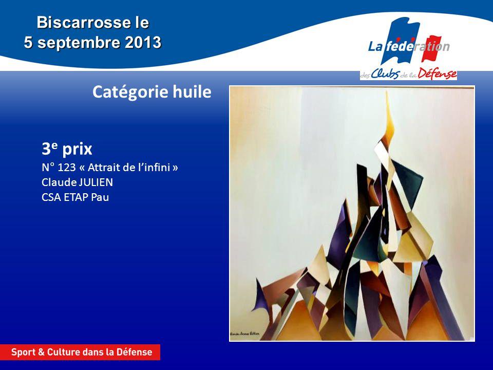 Biscarrosse le 5 septembre 2013 Catégorie huile 3 e prix N° 123 « Attrait de linfini » Claude JULIEN CSA ETAP Pau