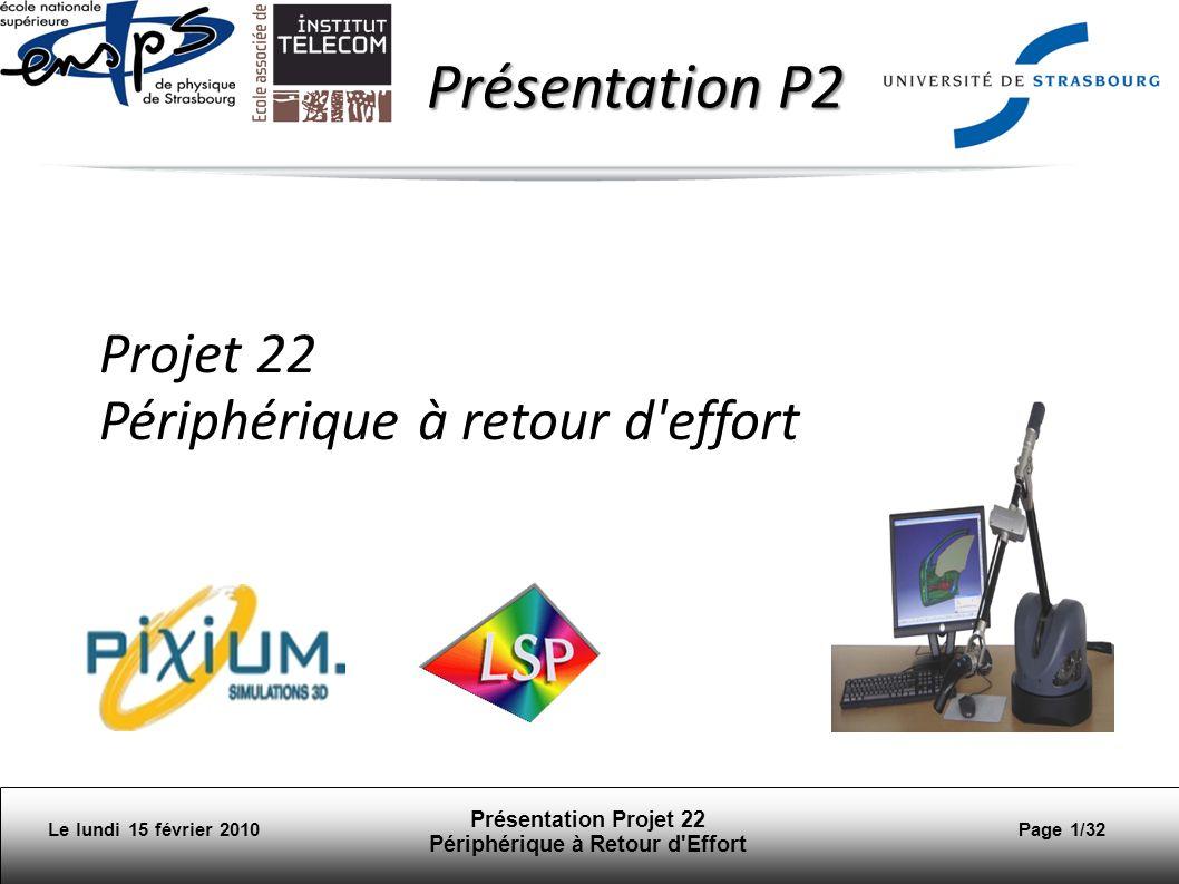 Le lundi 15 février 2010 Présentation Projet 22 Périphérique à Retour d Effort Page 32/32 Planning 06/07.