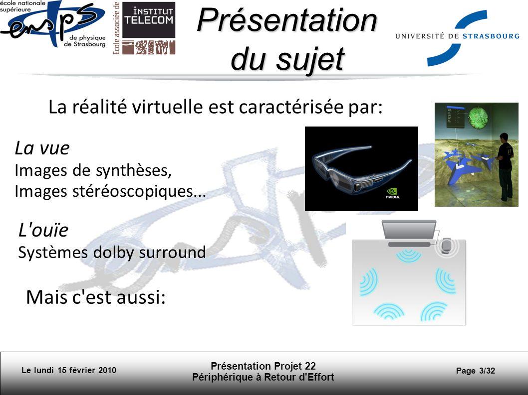 Le lundi 15 février 2010 Présentation Projet 22 Périphérique à Retour d Effort Page 24/32 Rééducation rééducation des membres supérieurs simulation de gammes dexercices ludiques