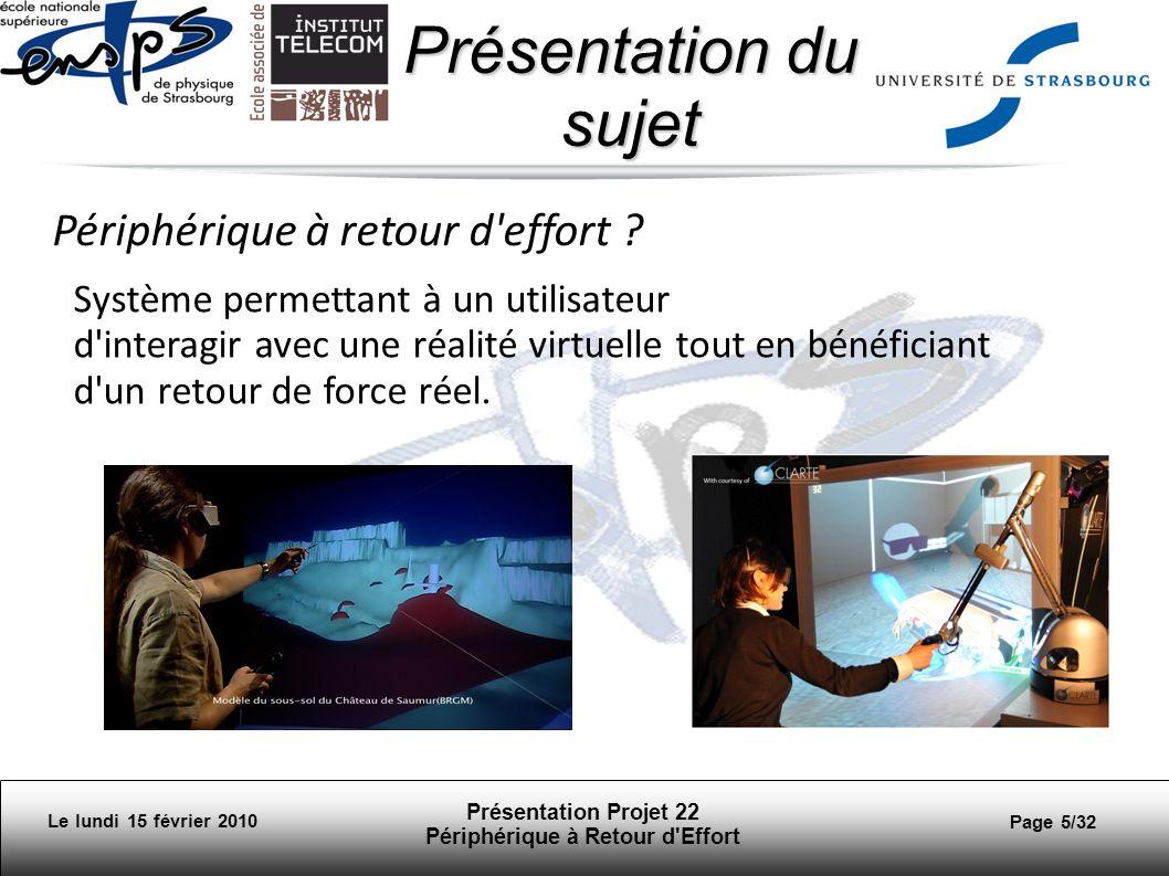 Présentation Projet 22 Périphérique à Retour d Effort Page 6/32 Présentation du sujet Le lundi 15 février 2010 Finalité de notre sujet: Simulation de déplacement dans un environnement virtuel afin dévaluer laccessibilité de certaines infrastructures aux personnes handicapées.