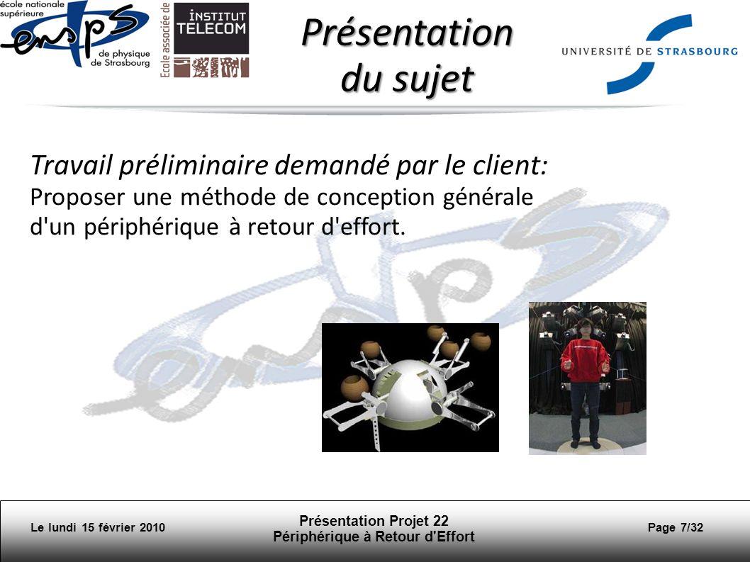 Le lundi 15 février 2010 Présentation Projet 22 Périphérique à Retour d Effort Page 28/32 Réalité virtuelle et jeux Les haptics permettent de reproduire chez lutilisateur les mêmes sensations que dans la réalité.