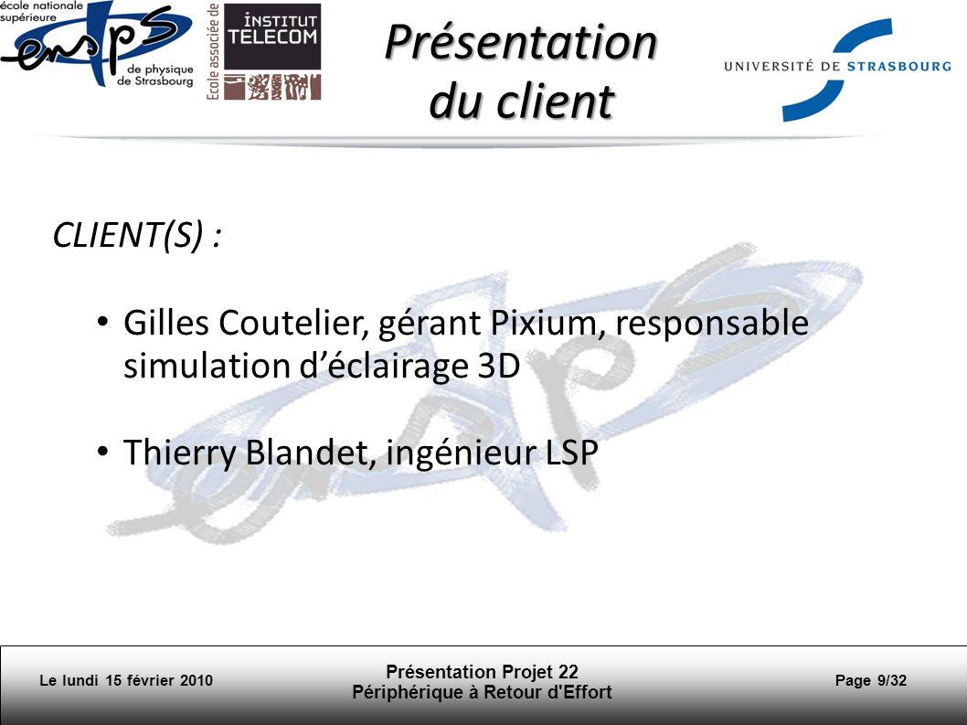 Le lundi 15 février 2010 Présentation Projet 22 Périphérique à Retour d Effort Page 10/32 Présentation du client Création 2004, collaboration étroite avec LSP Spécialisation: simulation de léclairage et la production 3D.