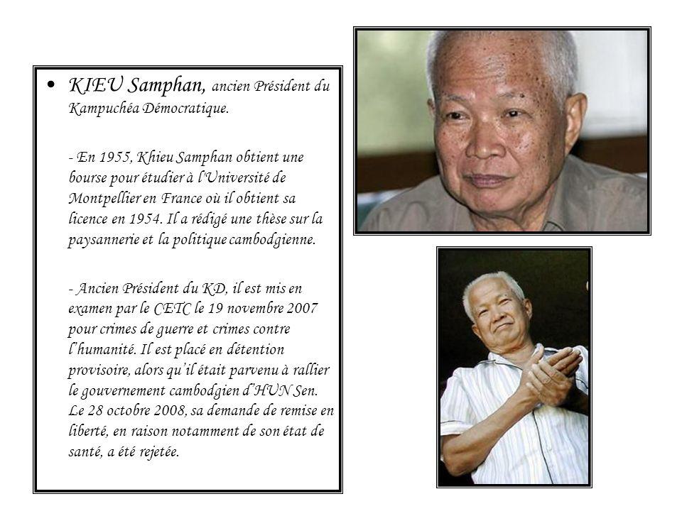 KIEU Samphan, ancien Président du Kampuchéa Démocratique. - En 1955, Khieu Samphan obtient une bourse pour étudier à l'Université de Montpellier en Fr