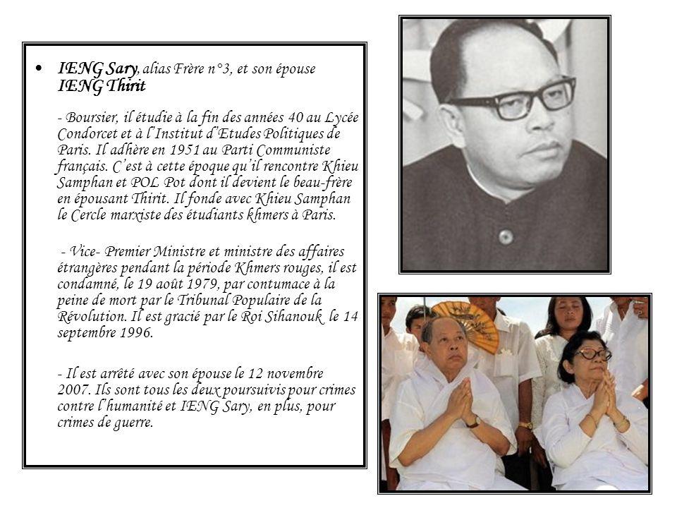 IENG Sary, alias Frère n°3, et son épouse IENG Thirit - Boursier, il étudie à la fin des années 40 au Lycée Condorcet et à lInstitut dEtudes Politique