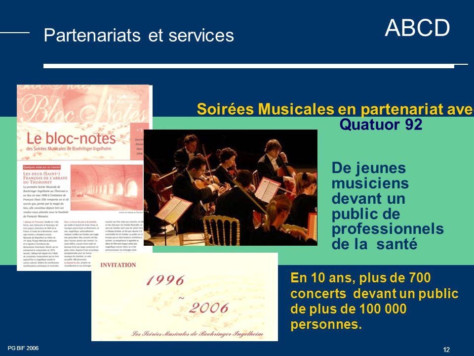 ABCD PG BIF 2006 12 Partenariats et services De jeunes musiciens devant un public de professionnels de la santé Soirées Musicales en partenariat avec Quatuor 92 En 10 ans, plus de 700 concerts devant un public de plus de 100 000 personnes.