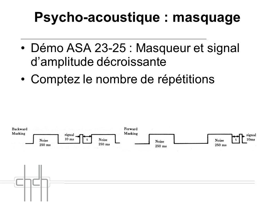 Psycho-acoustique : masquage Démo ASA 23-25 : Masqueur et signal damplitude décroissante Comptez le nombre de répétitions