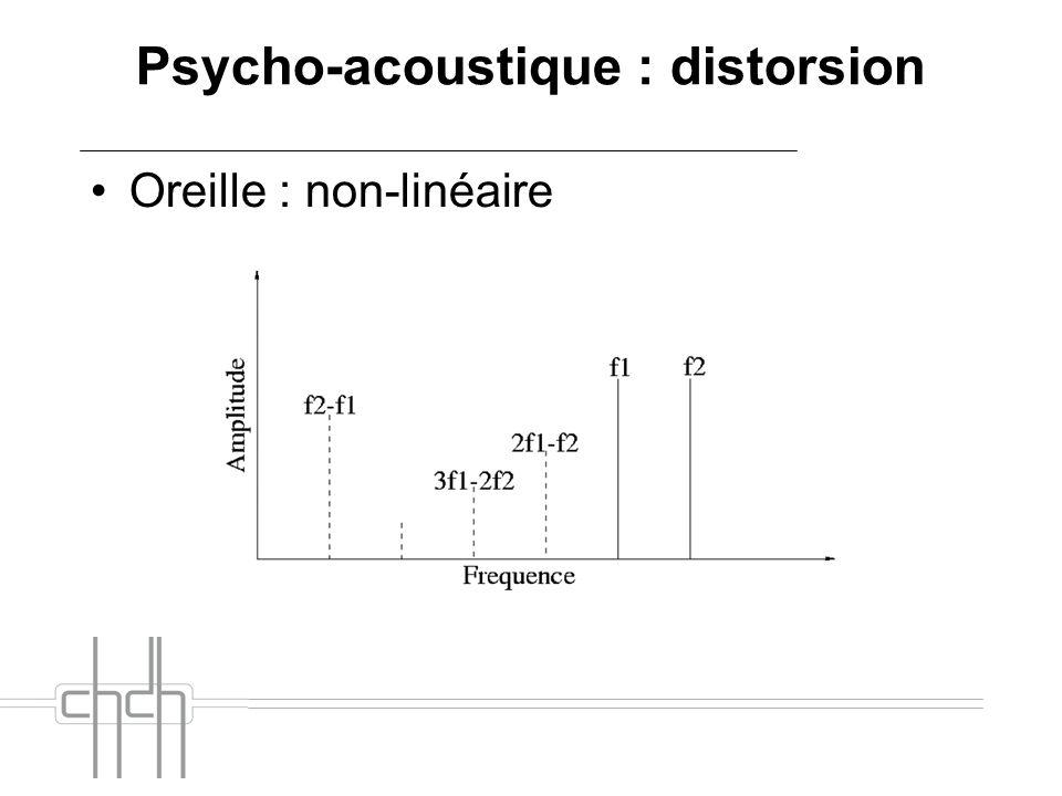 Psycho-acoustique : distorsion Oreille : non-linéaire