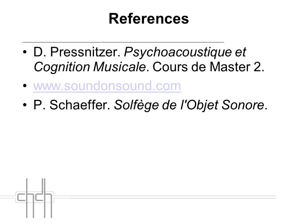 References D. Pressnitzer. Psychoacoustique et Cognition Musicale. Cours de Master 2. www.soundonsound.com P. Schaeffer. Solfège de l'Objet Sonore.