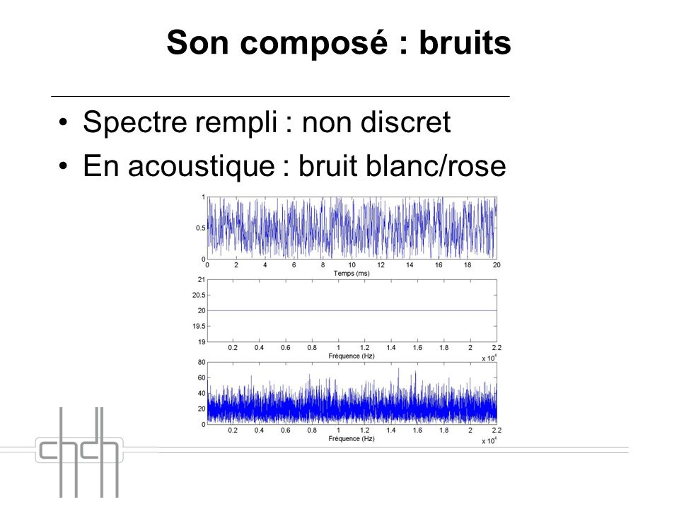 Son composé : bruits Spectre rempli : non discret En acoustique : bruit blanc/rose