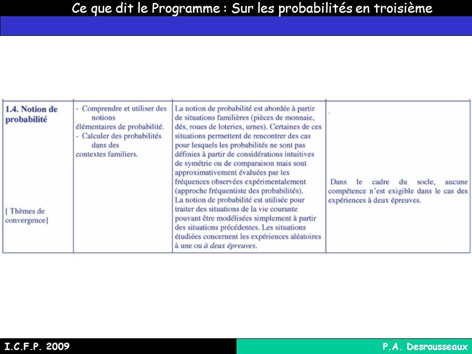 Ce que dit le Programme : Sur les probabilités en troisième I.C.F.P. 2009P.A. Desrousseaux