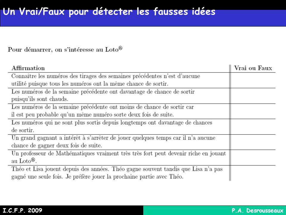 Un Vrai/Faux pour détecter les fausses idées I.C.F.P. 2009P.A. Desrousseaux