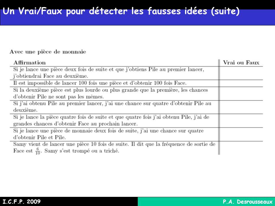 Un Vrai/Faux pour détecter les fausses idées (suite) I.C.F.P. 2009P.A. Desrousseaux