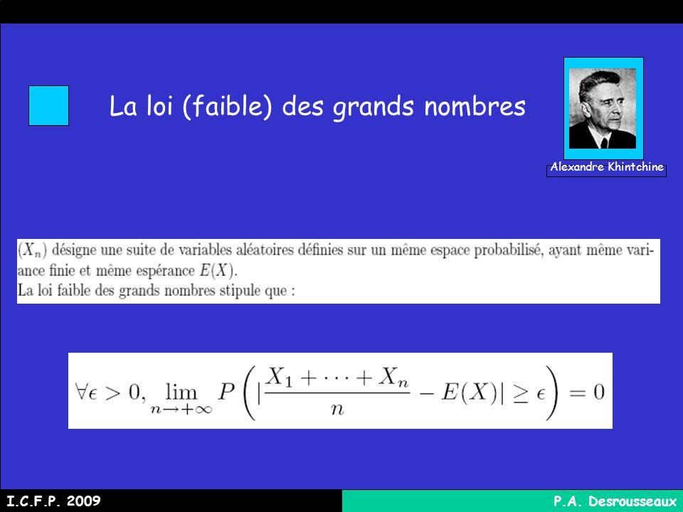 La loi (faible) des grands nombres I.C.F.P. 2009P.A. Desrousseaux Alexandre Khintchine