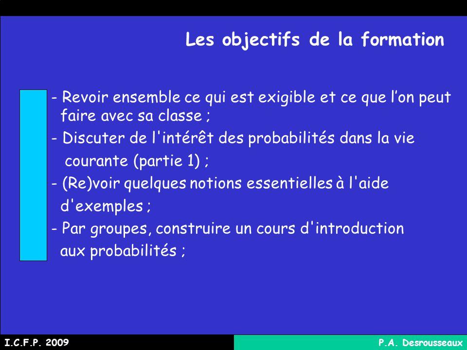 Les objectifs de la formation - Revoir ensemble ce qui est exigible et ce que lon peut faire avec sa classe ; - Discuter de l intérêt des probabilités dans la vie courante (partie 1) ; - (Re)voir quelques notions essentielles à l aide d exemples ; - Par groupes, construire un cours d introduction aux probabilités ; I.C.F.P.