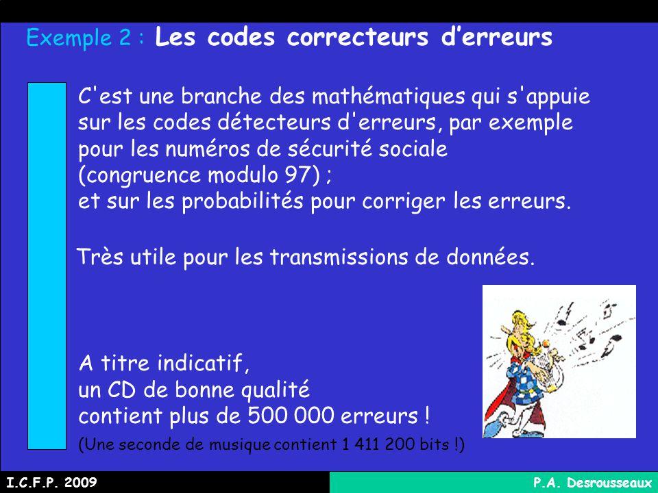 Exemple 2 : Les codes correcteurs derreurs C est une branche des mathématiques qui s appuie sur les codes détecteurs d erreurs, par exemple pour les numéros de sécurité sociale (congruence modulo 97) ; et sur les probabilités pour corriger les erreurs.