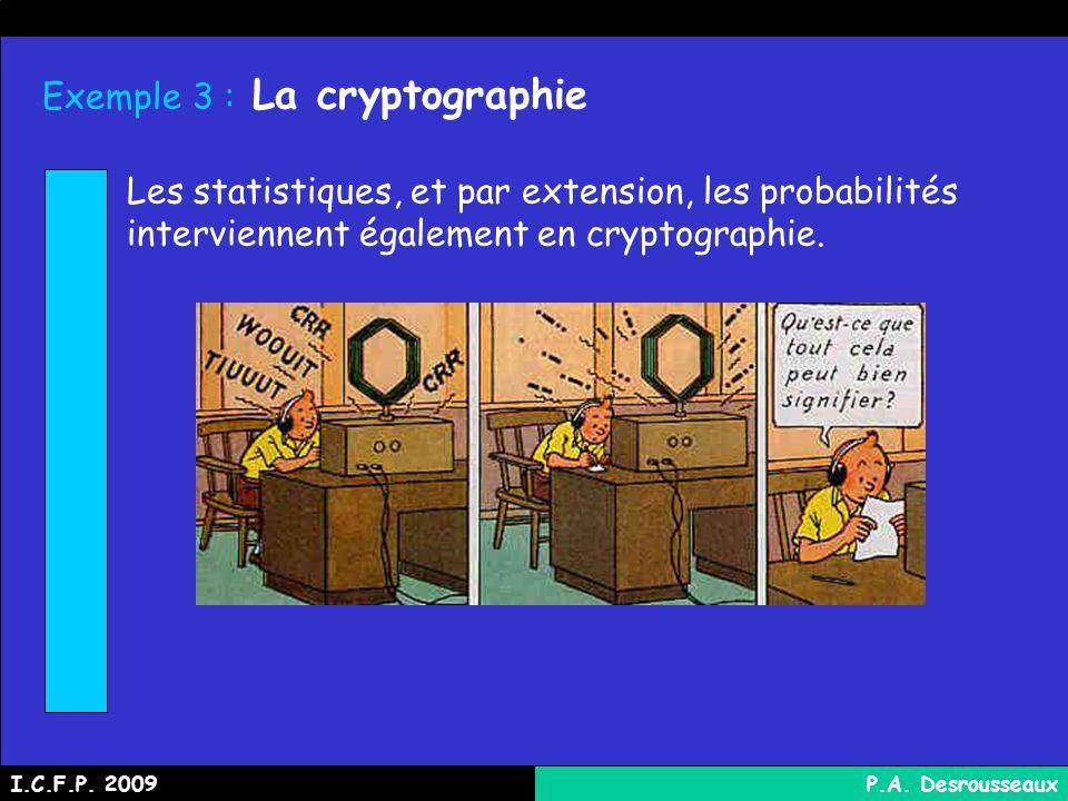 Exemple 3 : La cryptographie Les statistiques, et par extension, les probabilités interviennent également en cryptographie.