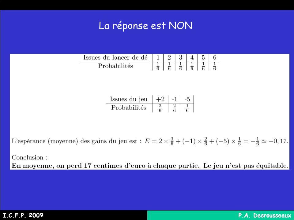 La réponse est NON I.C.F.P. 2009P.A. Desrousseaux