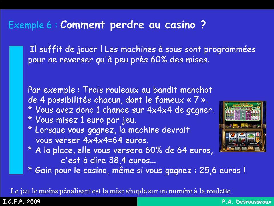 Exemple 6 : Comment perdre au casino .Il suffit de jouer .