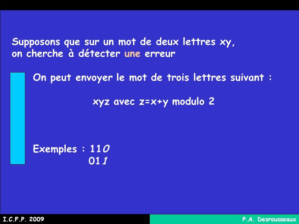 Supposons que sur un mot de deux lettres xy, on cherche à détecter une erreur On peut envoyer le mot de trois lettres suivant : xyz avec z=x+y modulo 2 Exemples : 110 011 I.C.F.P.