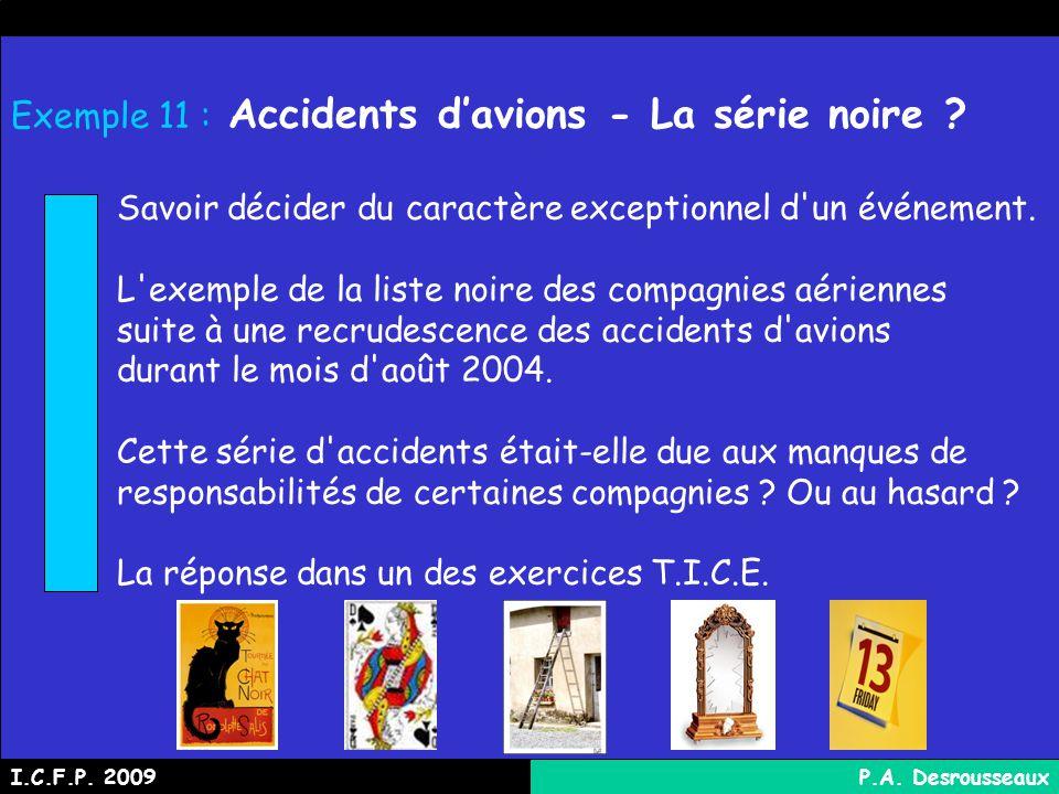 Exemple 11 : Accidents davions - La série noire .
