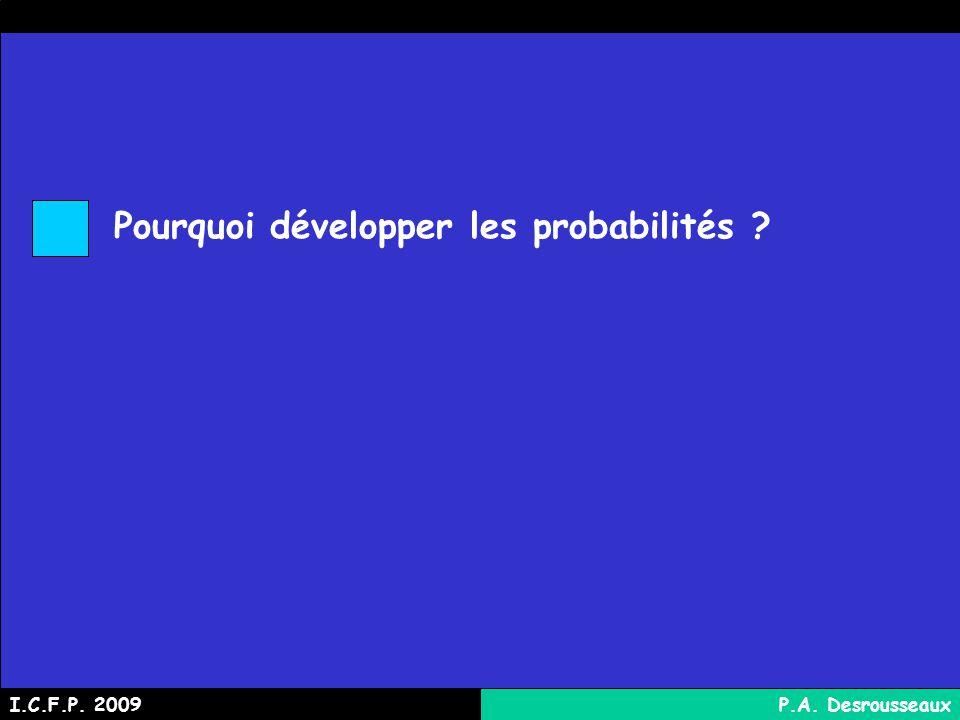 Pourquoi développer les probabilités ? I.C.F.P. 2009P.A. Desrousseaux