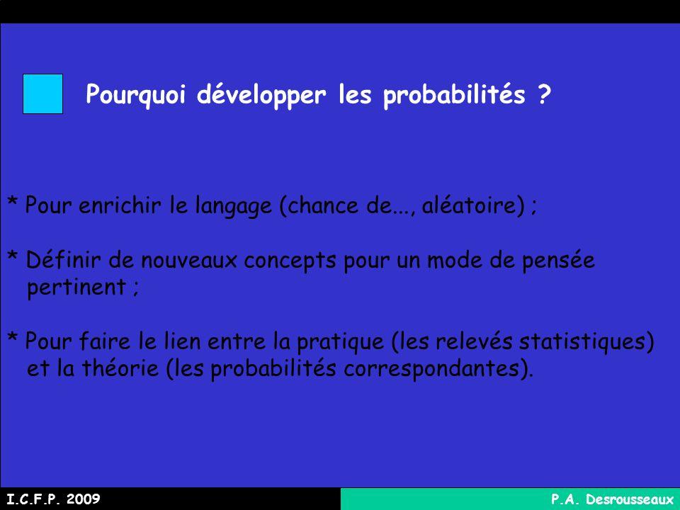 Pourquoi développer les probabilités .