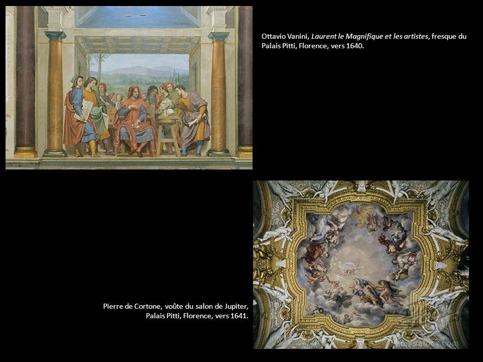 Ottavio Vanini, Laurent le Magnifique et les artistes, fresque du Palais Pitti, Florence, vers 1640. Pierre de Cortone, voûte du salon de Jupiter, Pal