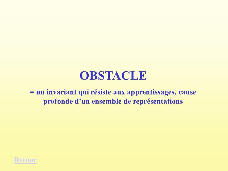 OBSTACLE = un invariant qui résiste aux apprentissages, cause profonde dun ensemble de représentations Retour