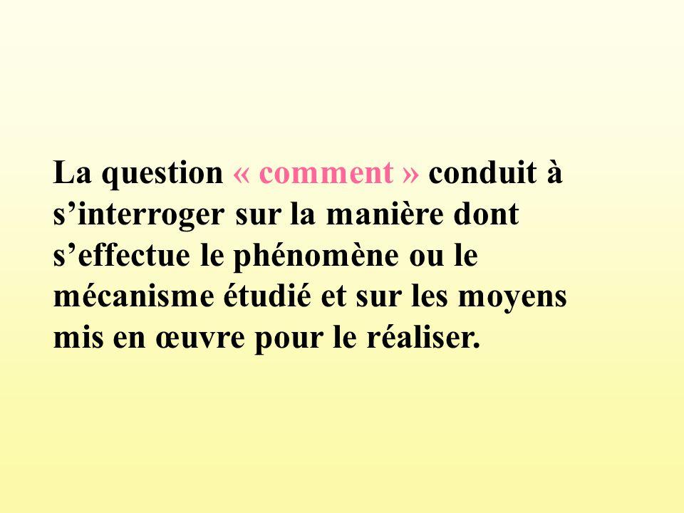 La question « comment » conduit à sinterroger sur la manière dont seffectue le phénomène ou le mécanisme étudié et sur les moyens mis en œuvre pour le