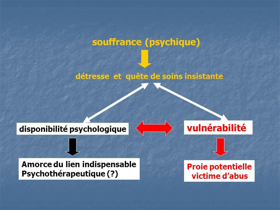 souffrance (psychique) détresse et quête de soins insistante vulnérabilité disponibilité psychologique Amorce du lien indispensable Psychothérapeutique ( ) Proie potentielle victime dabus