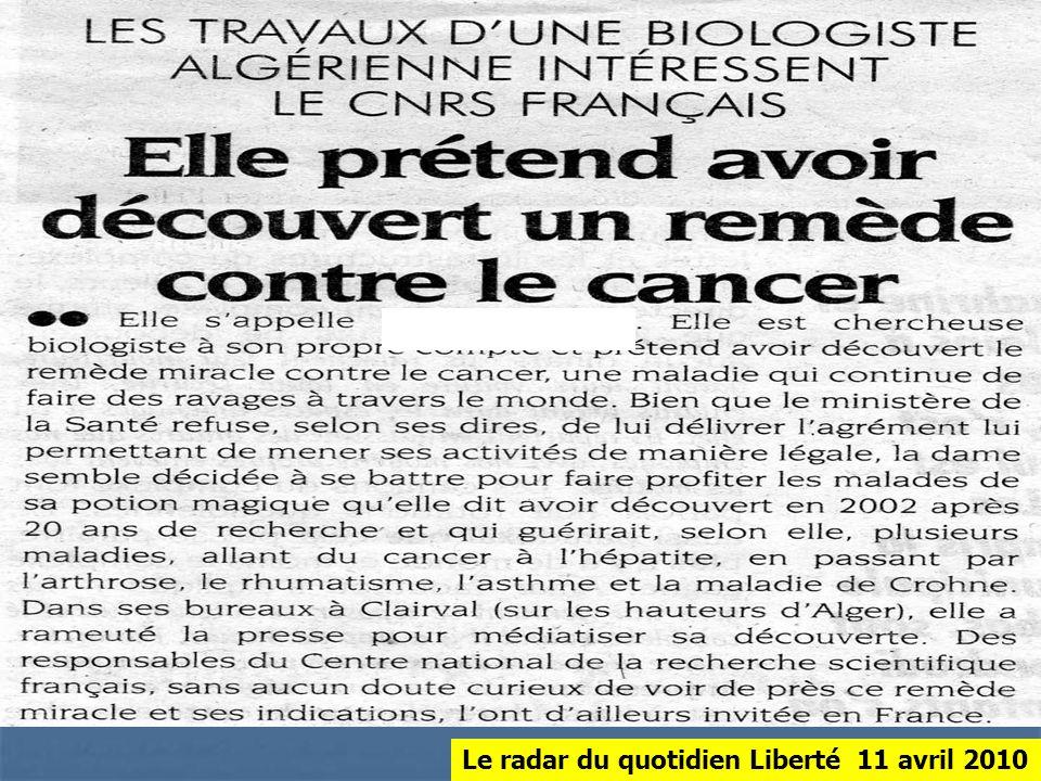 Le radar du quotidien Liberté 11 avril 2010