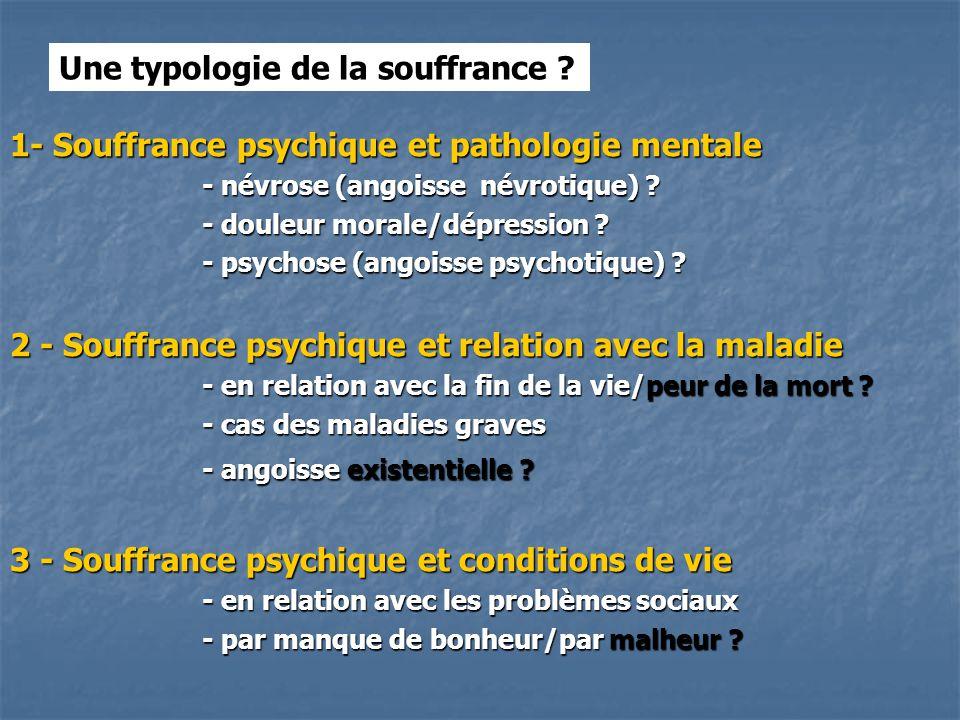 1- Souffrance psychique et pathologie mentale - névrose (angoisse névrotique) .