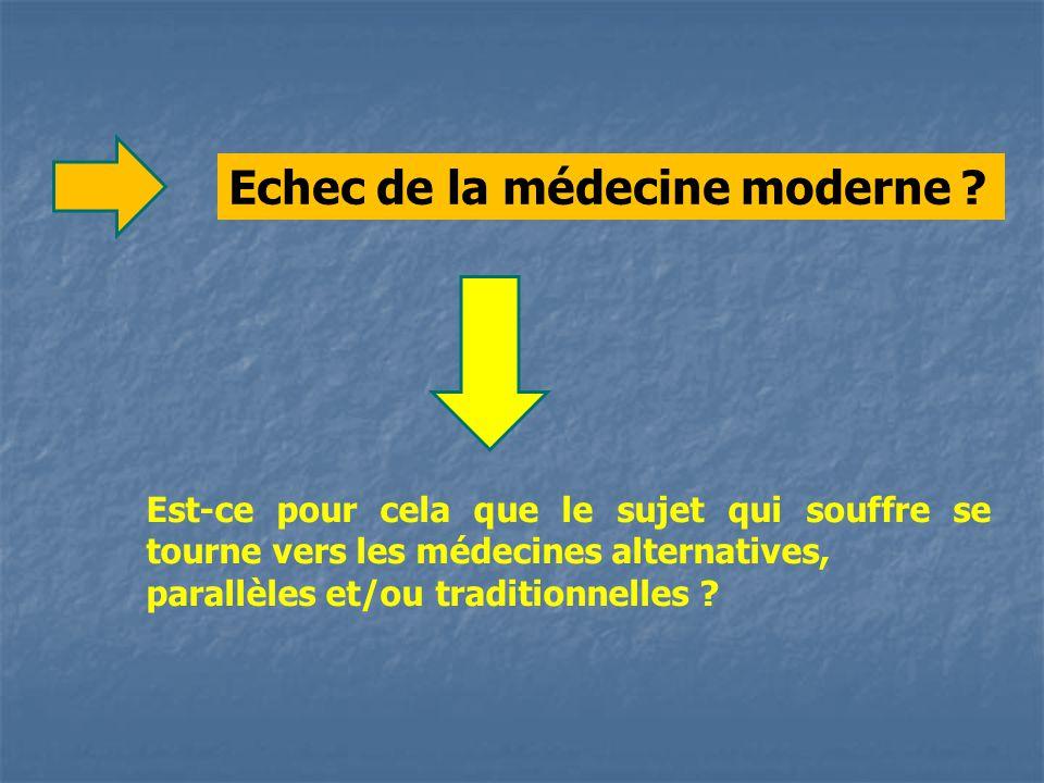 Est-ce pour cela que le sujet qui souffre se tourne vers les médecines alternatives, parallèles et/ou traditionnelles .