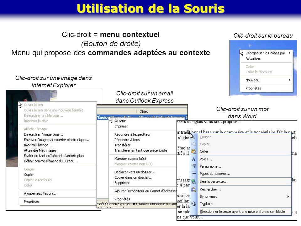 Clic-droit = menu contextuel (Bouton de droite) Menu qui propose des commandes adaptées au contexte Clic-droit sur une image dans Internet Explorer Cl