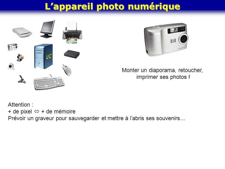 Lappareil photo numérique Monter un diaporama, retoucher, imprimer ses photos ! Attention : + de pixel + de mémoire Prévoir un graveur pour sauvegarde