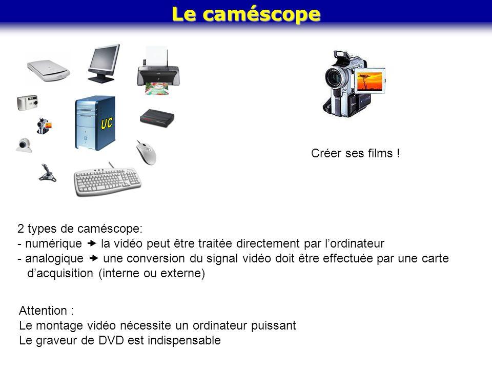 Le caméscope Créer ses films ! 2 types de caméscope: - numérique la vidéo peut être traitée directement par lordinateur - analogique une conversion du