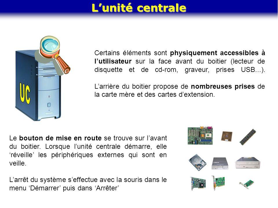 Lunité centrale Certains éléments sont physiquement accessibles à lutilisateur sur la face avant du boitier (lecteur de disquette et de cd-rom, graveu