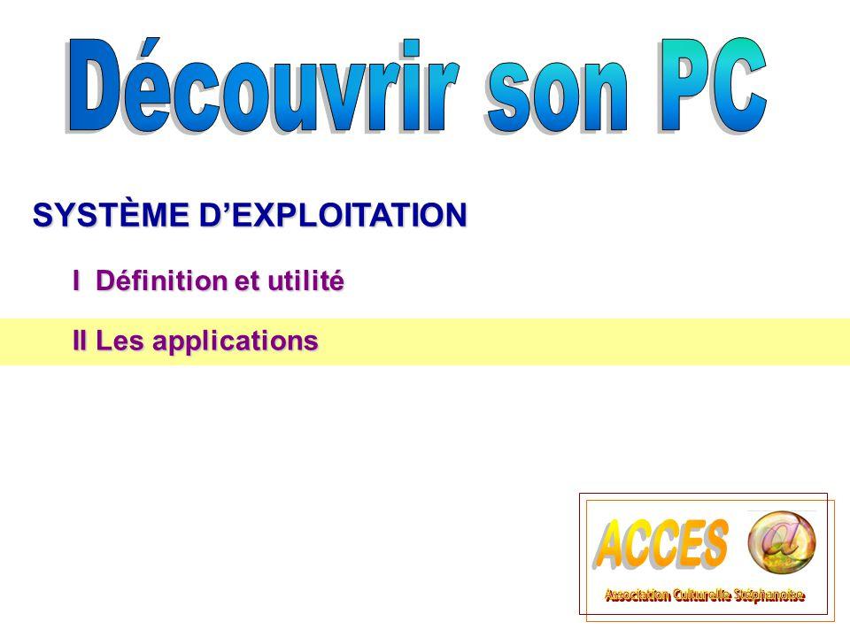 SYSTÈME DEXPLOITATION I Définition et utilité II Les applications II Les applications