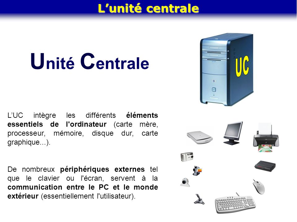U nité C entrale Lunité centrale LUC intègre les différents éléments essentiels de l'ordinateur (carte mère, processeur, mémoire, disque dur, carte gr