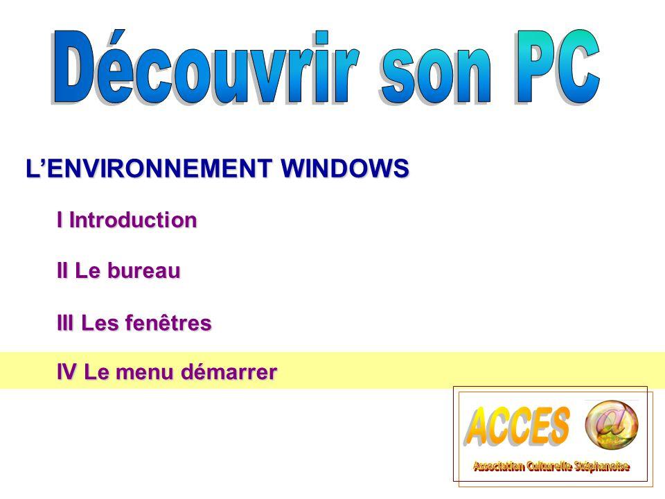 II Le bureau II Le bureau LENVIRONNEMENT WINDOWS III Les fenêtres III Les fenêtres I Introduction IV Le menu démarrer IV Le menu démarrer