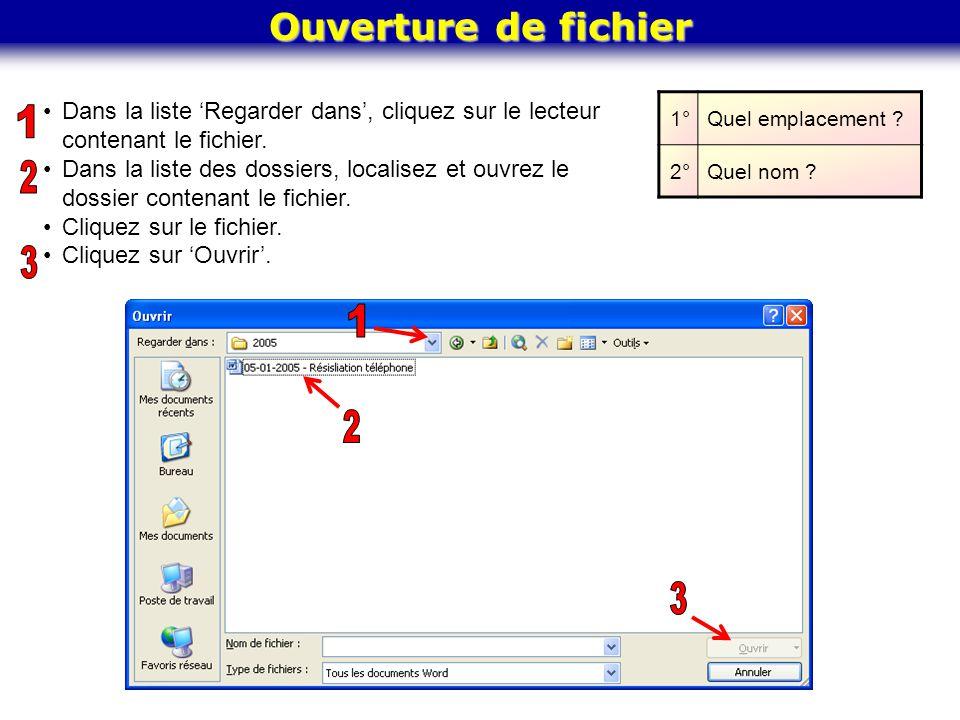 Ouverture de fichier Dans la liste Regarder dans, cliquez sur le lecteur contenant le fichier. Dans la liste des dossiers, localisez et ouvrez le doss