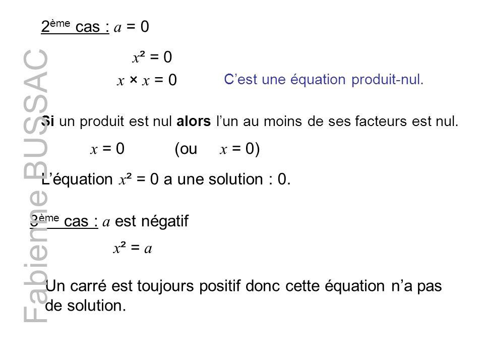 2 ème cas : a = 0 x ² = 0 Cest une équation produit-nul. Si un produit est nul alors lun au moins de ses facteurs est nul. x = 0 (ou x = 0) x × x = 0