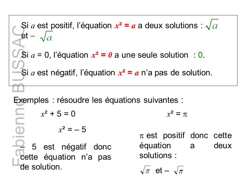 Si a est positif, léquation x ² = a a deux solutions : et – Si a = 0, léquation x ² = 0 a une seule solution : 0. Si a est négatif, léquation x ² = a