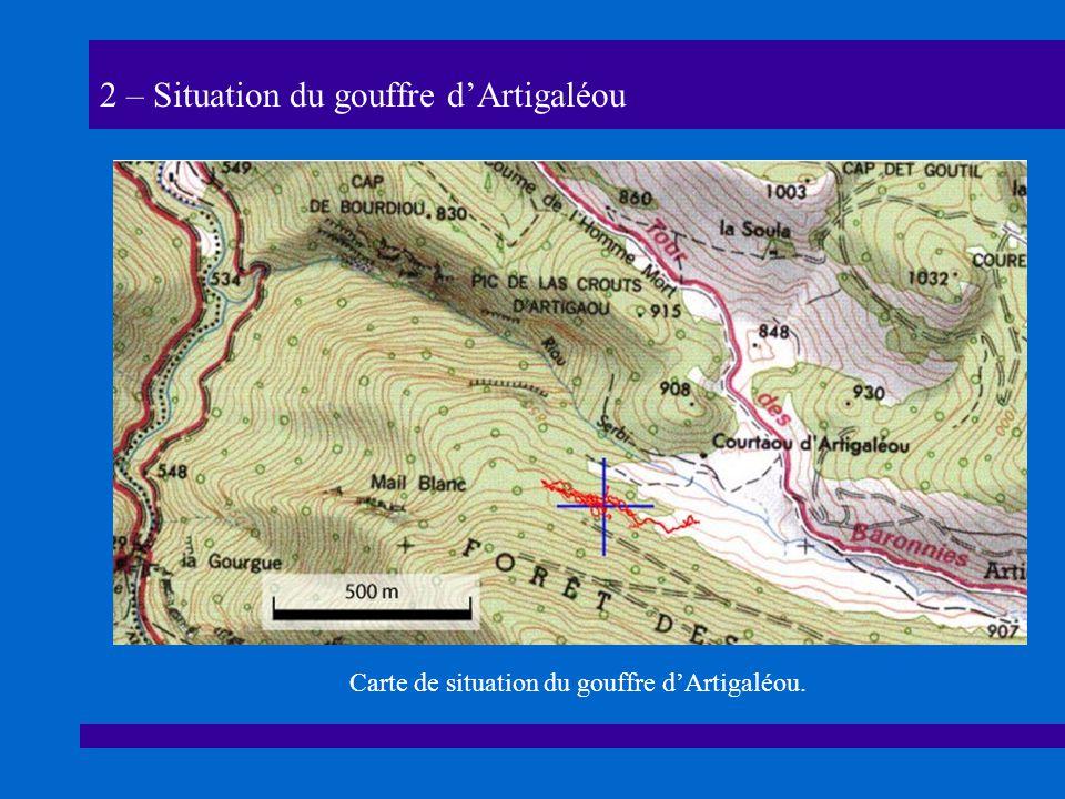 2 – Situation du gouffre dArtigaléou Carte de situation du gouffre dArtigaléou.
