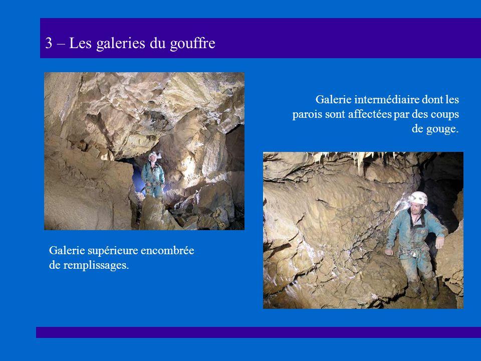 3 – Les galeries du gouffre Galerie supérieure encombrée de remplissages.
