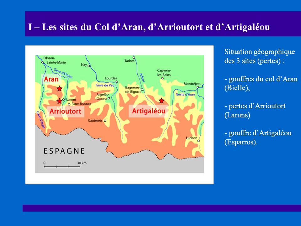 I – Les sites du Col dAran, dArrioutort et dArtigaléou Situation géographique des 3 sites (pertes) : - gouffres du col dAran (Bielle), - pertes dArrioutort (Laruns) - gouffre dArtigaléou (Esparros).