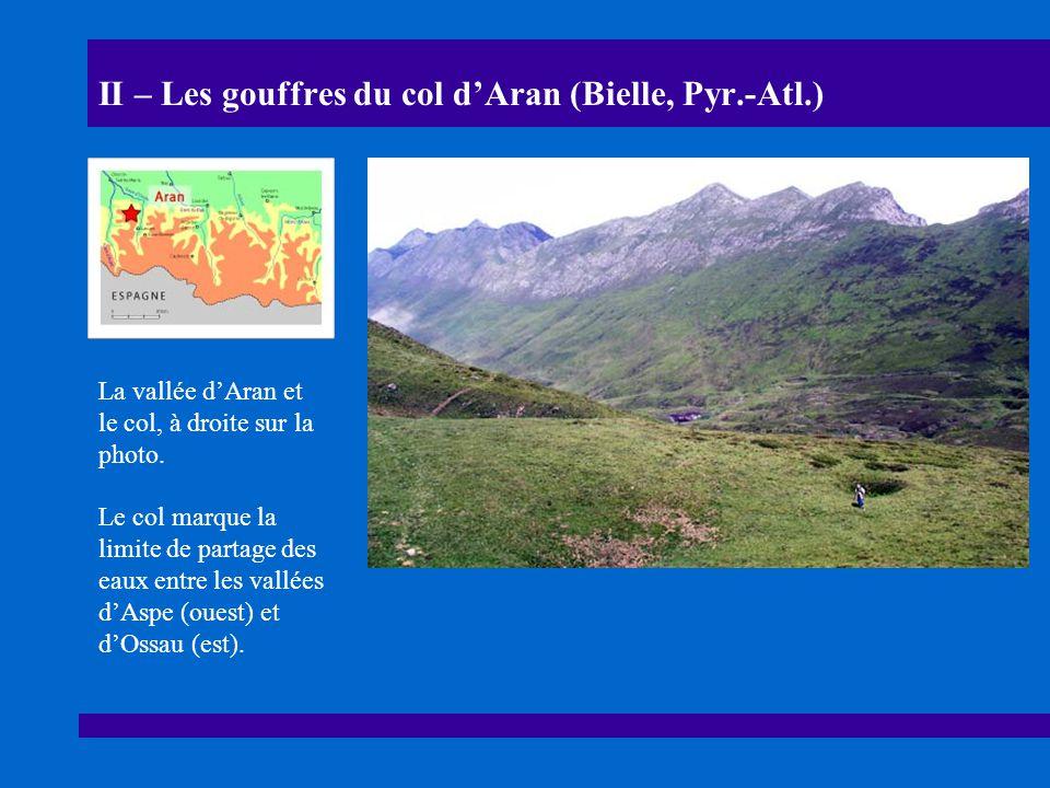 II – Les gouffres du col dAran (Bielle, Pyr.-Atl.) La vallée dAran et le col, à droite sur la photo.