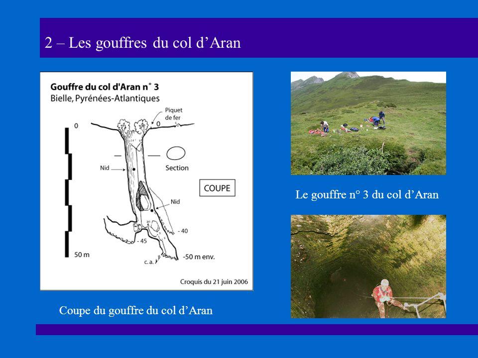 2 – Les gouffres du col dAran Le gouffre n° 3 du col dAran Coupe du gouffre du col dAran