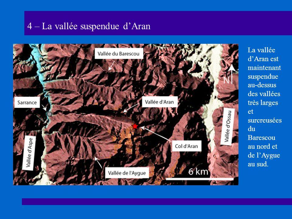 4 – La vallée suspendue dAran La vallée dAran est maintenant suspendue au-dessus des vallées très larges et surcreusées du Barescou au nord et de lAygue au sud.